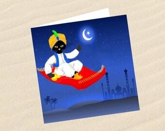 Cat greeting card: Arabian nights