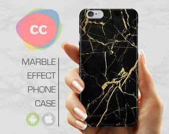 Black Gold Marble - iPhone 8 Case - iPhone 7 Case - iPhone X, iPhone 8 Plus, 7, 6, 6S, 5S, SE Cases - Samsung S8, S7, S6 Cases - PC-334