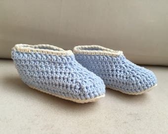 Small blue and white slippers for baby