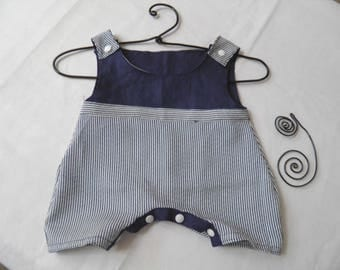 Navy Blue linen baby romper and blue striped cotton Navy/white