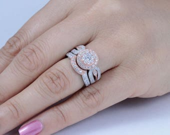 Sterling Silver Cz Rose Gold Wedding Band Engagement Rings Set Size 3-14 SsRW56A
