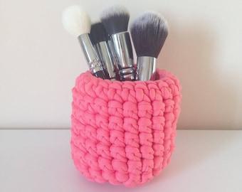 Hand crocheted pink, violet pot