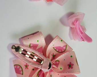 Girls Toddlers snap clips/pink bow/Big flower/Printed bow/Small rabbit barrette/Organza bow/Plastic small clips/Wrapped clipes/Hair accesory