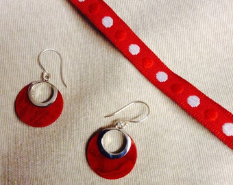 Earrings coral and 925 Silver, Valentines day
