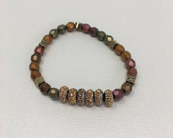 Rust, Amber, Gold, Copper, and Green Beaded Bracelet with amber gold accent pieces
