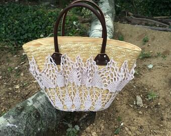Beige crochet pattern straw basket