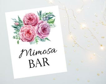 Mimosa Bar Sign 8x10 and 5x7 size Printable PDF, Pink Floral Watercolor Sign, Bridal Shower Sign, Wedding Reception Sign - Printable PDF