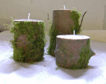 Set of three wood, branch,, log tea light candle holders, natural, rustic, handmade