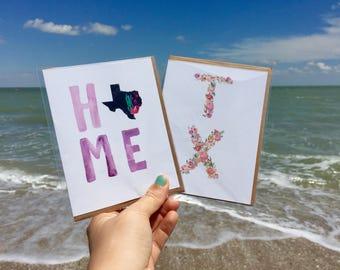 Texas Card, Texas, Texas Art Print, Texas Decal, Texas Decor, Texas Gift, Art Print, Gift for Her, Aggies, University of Texas, Texas Made
