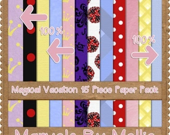 MAGICAL, happiest place on earth, digital paper, 15 pack printable papers