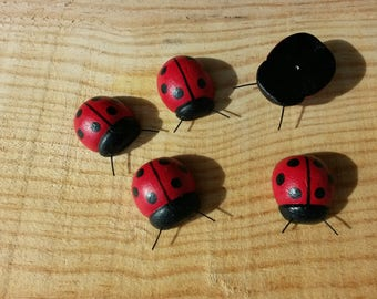 Red and black ladybugs painted wood.