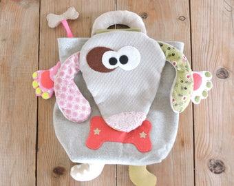 RESERVE dog bag, pink/green/beige/grey tones