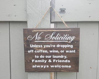 No soliciting rustic sign, black