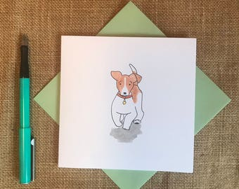 Hand painted Jack Russell terrier card