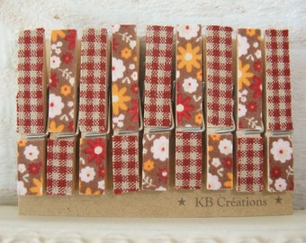 Linen, 9 MINI clothespins decorated (No. 36) vintage brown/orange