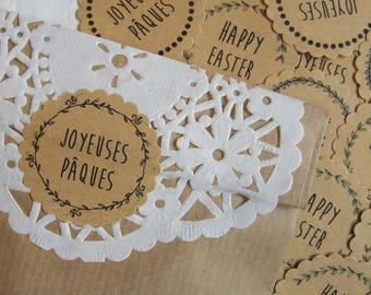 """Set of 28 labels """"Easter"""" kraft sticker"""