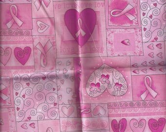 Cotton Pink quilting Fabric - Hearts and Ribbons - 55x30cm
