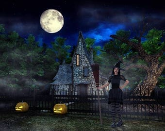 halloween backdrop spooky halloween digital background photoshop backdrop witches house digital backdrop - Halloween Backdrop