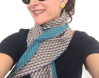 Headband / scarf / belt reversible blue