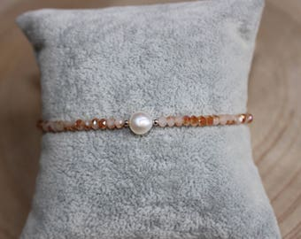 Freshwater pearls and Crystal beaded bracelet