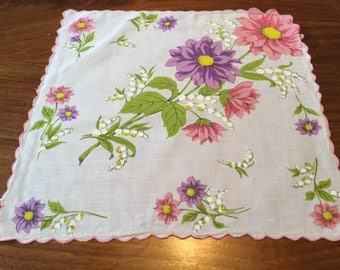 Vintage Women's Handkerchief White with Purple and Pink Daisies an Lily of the Valley