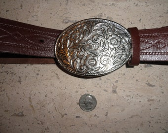Vintage Genuine Leather Soft Brown Tooled Western Style Belt with Attached Silver Tone Floral Buckle Women's Small L. Chishom
