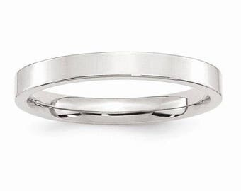 Sterling Silver .925 3mm Comfort Fit Flat Men's and Women's Wedding Band Ring Thumb/ Knuckle/ Toe Rings Sizes 4-14 High Polished U.S made.