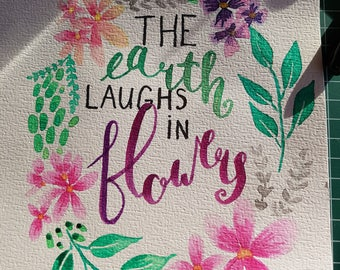 The earth laughes in flowers aquarelle