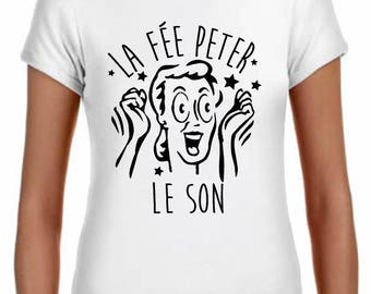 peter the fairy woman t-shirt, 100% cotton, classic cut, white
