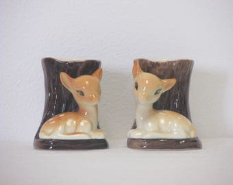 Vintage 1960s Hornsea Fauna Pair of Small Brown Fawn and Tree Vases