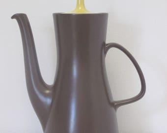 Retro 1960s Poole Twintone C107 Sweetcorn and Brazil Yellow & Brown Coffee Pot