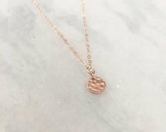 Tiny 14k Rose Gold Filled Hammered Disc Dainty Necklace