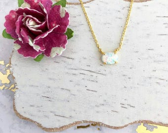Tiny Opal Dainty Necklace in Gold Chain