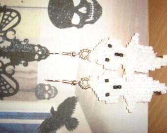 Earrings small ghost halloween beads