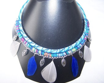 Feather Necklace: necklace with feathers, blue and gray, designer jewelry