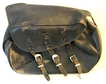 Vintage Harley Davidson Saddle Bag (1) Black Leather