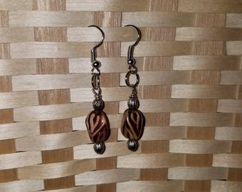 Gold and honey brown rectangular shape dangle earrings