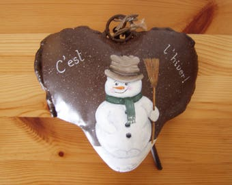 """To order: Deco Christmas Snowman"" heart Bell metal"