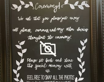No Electronic Devices Wedding Ceremony Sign