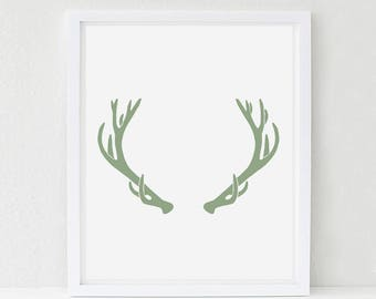 Elk Antler Art Print, Woodland Nursery Art, Kids Woodland Bedroom, Woodland Decor, Woodland Animal Print, Pick Your Color