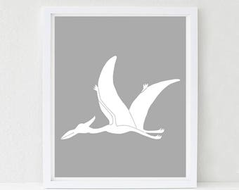 Dinosaur Nursery Art, Pterodactyl, Nursery Decor, Kids Wall Art, Baby Shower Decor, Choose Your Custom Color