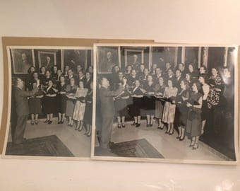 Lot of two 8 x 10 glossy photographs from 1940s - choir practice - recital