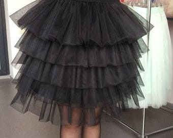 Black tulle skirt tiered tulle skirt black skirt tiered midi skirt