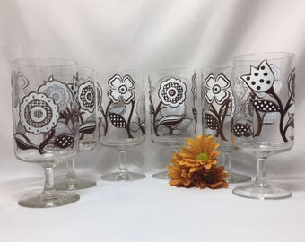 Culver Footed Goblets Glasses White and Brown Mod Floral Design - set of 6