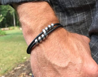 Recycled Aluminum Double Twist Leather Bracelet