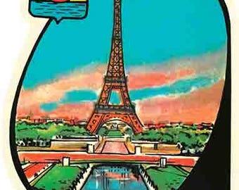 Vintage Style Paris France Eiffel Tower  Travel Decal sticker