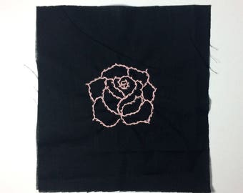 Baby pink rose embroidery