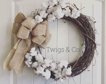Cotton wreath with burlap bow