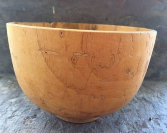 Handmade Pecan wood bowl signed and dated in 1990