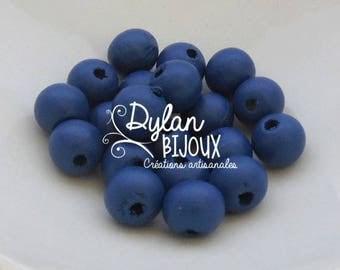 20 ⌀ 10 mm Navy blue wooden beads